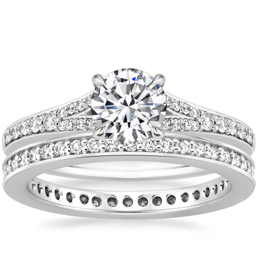 18K White Gold Duet Diamond Ring with Starlight Eternity Diamond Ring (1/3 ct. tw.)