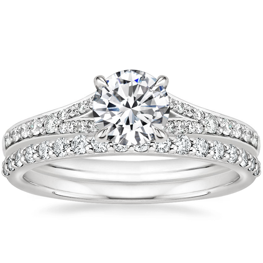 18K White Gold Duet Diamond Ring with Petite Shared Prong Diamond Ring (1/4 ct. tw.)