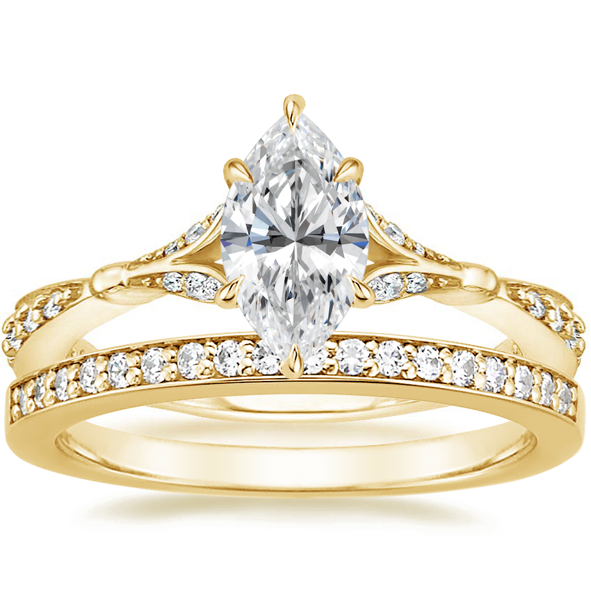 18K Yellow Gold Zinnia Diamond Ring (1/3 ct. tw.) with Starlight Diamond Ring (1/8 ct. tw.)
