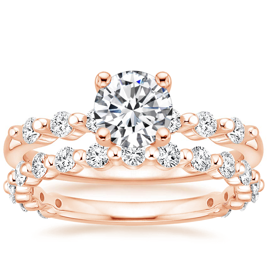 14K Rose Gold Petite Marseille Diamond Ring (1/6 ct. tw.) with Luxe Marseille Diamond Ring (1/2 ct. tw.)