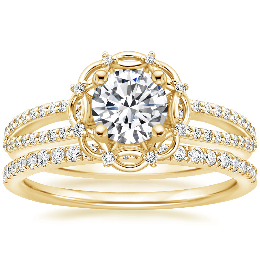 18K Yellow Gold Isabella Diamond Ring with Ballad Diamond Ring (1/6 ct. tw.)