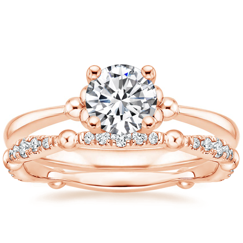 14K Rose Gold Soiree Ring with Dolce Diamond Ring