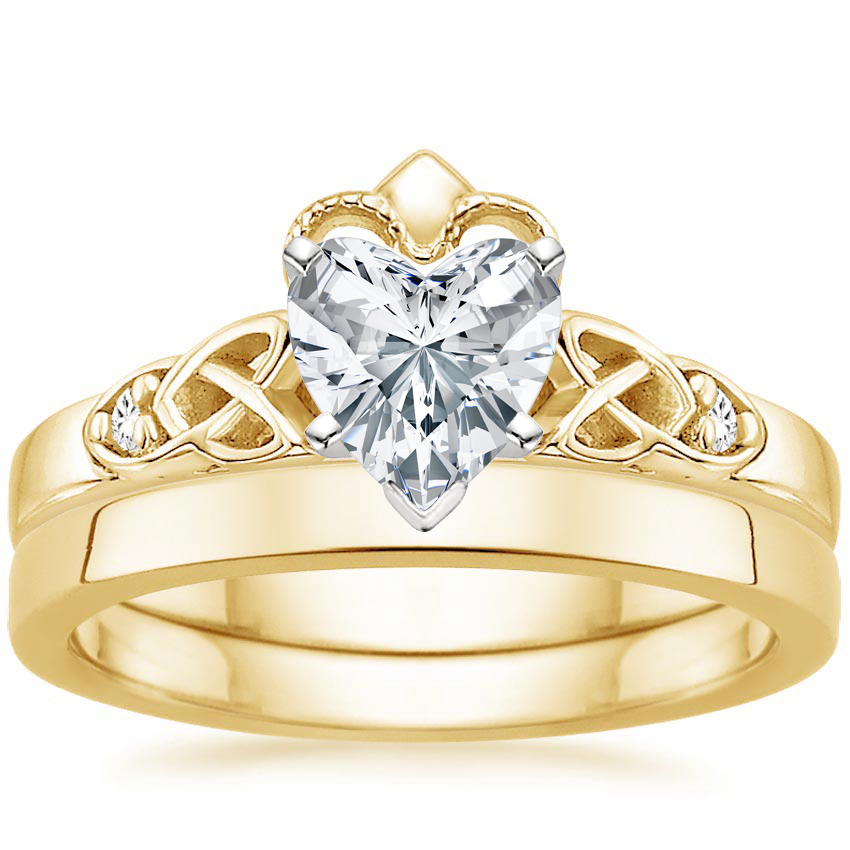 18K Yellow Gold Celtic Claddagh Diamond Bridal Set