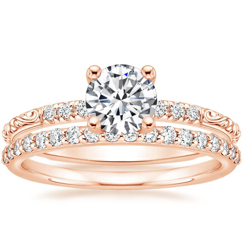14K Rose Gold Adeline Diamond Ring with Petite Shared Prong Diamond Ring (1/4 ct. tw.)