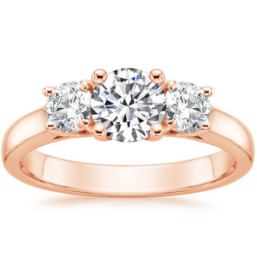 Round 14K Rose Gold Three Stone Trellis Diamond Ring (1/2 ct. tw.)