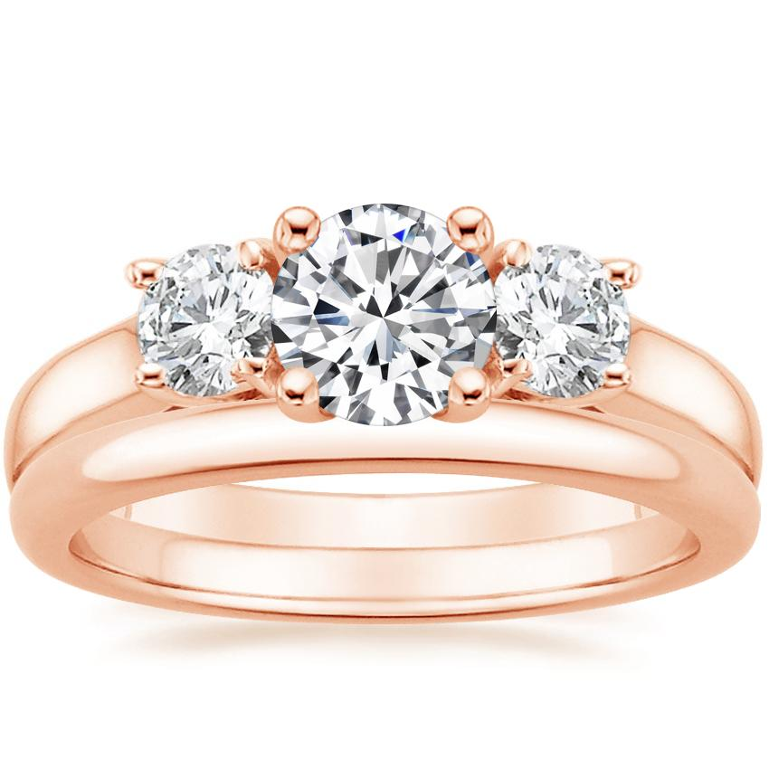 14K Rose Gold Three Stone Trellis Diamond Ring with 2mm Comfort Fit Wedding Ring