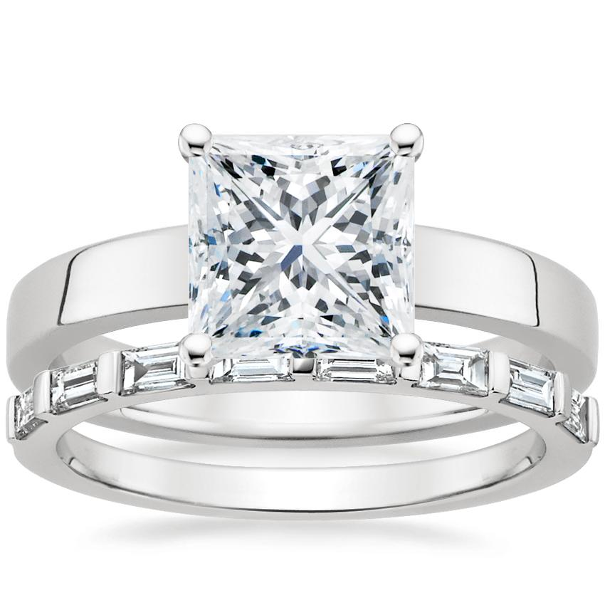 Platinum Marina Ring with Barre Diamond Ring (1/4 ct. tw.)
