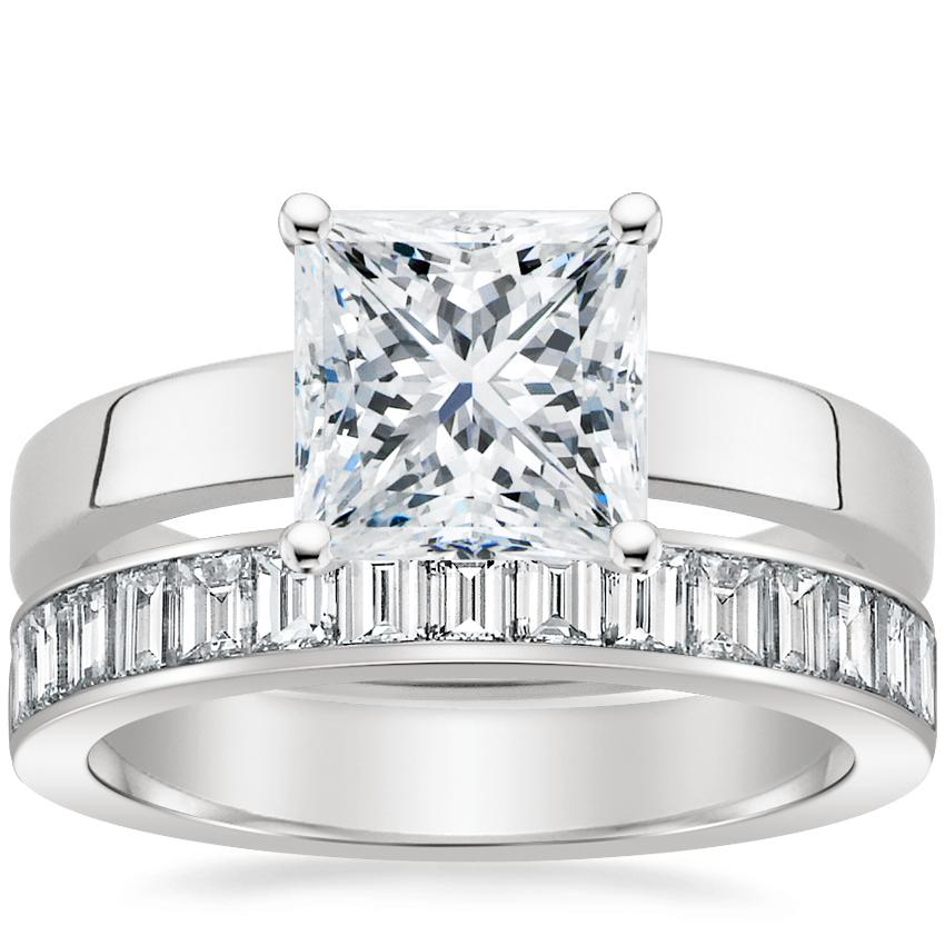 18K White Gold Marina Ring with Channel Set Baguette Diamond Ring (1 ct. tw.)