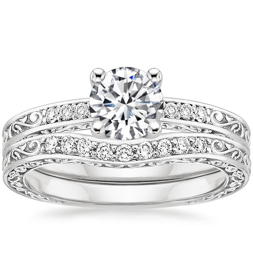 18K White Gold Delicate Antique Scroll Contoured Diamond Bridal Set