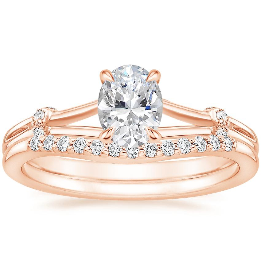 14K Rose Gold Odelia Diamond Ring with Petite Curved Diamond Ring