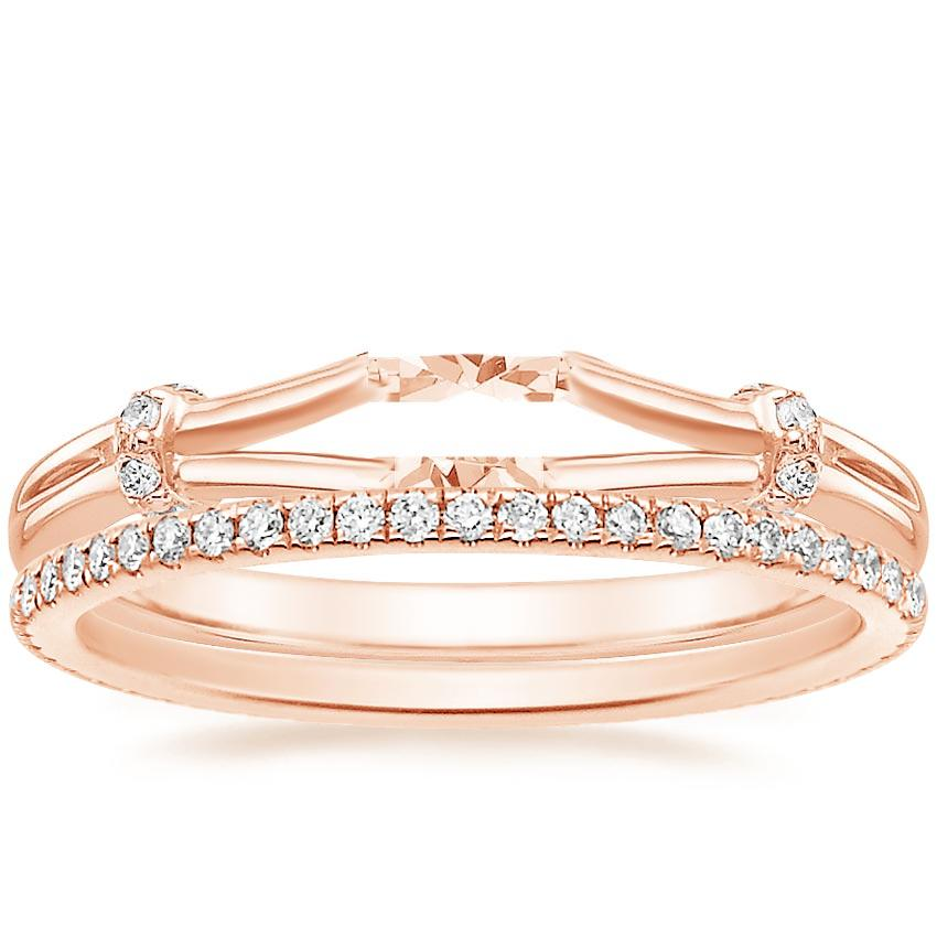 14K Rose Gold Odelia Diamond Ring with Whisper Eternity Diamond Ring