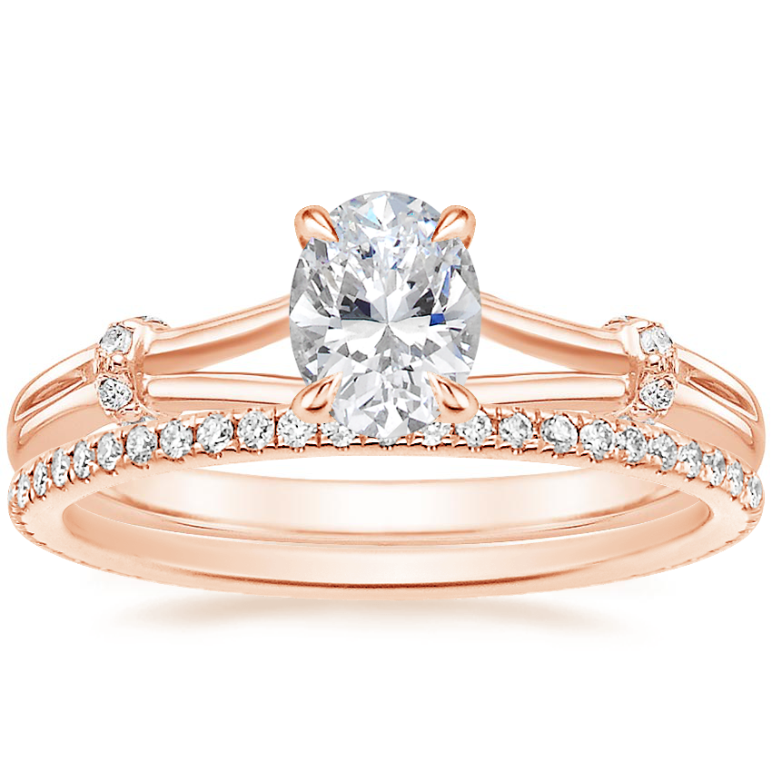 14K Rose Gold Odelia Diamond Ring with Whisper Eternity Diamond Ring (1/4 ct. tw.)
