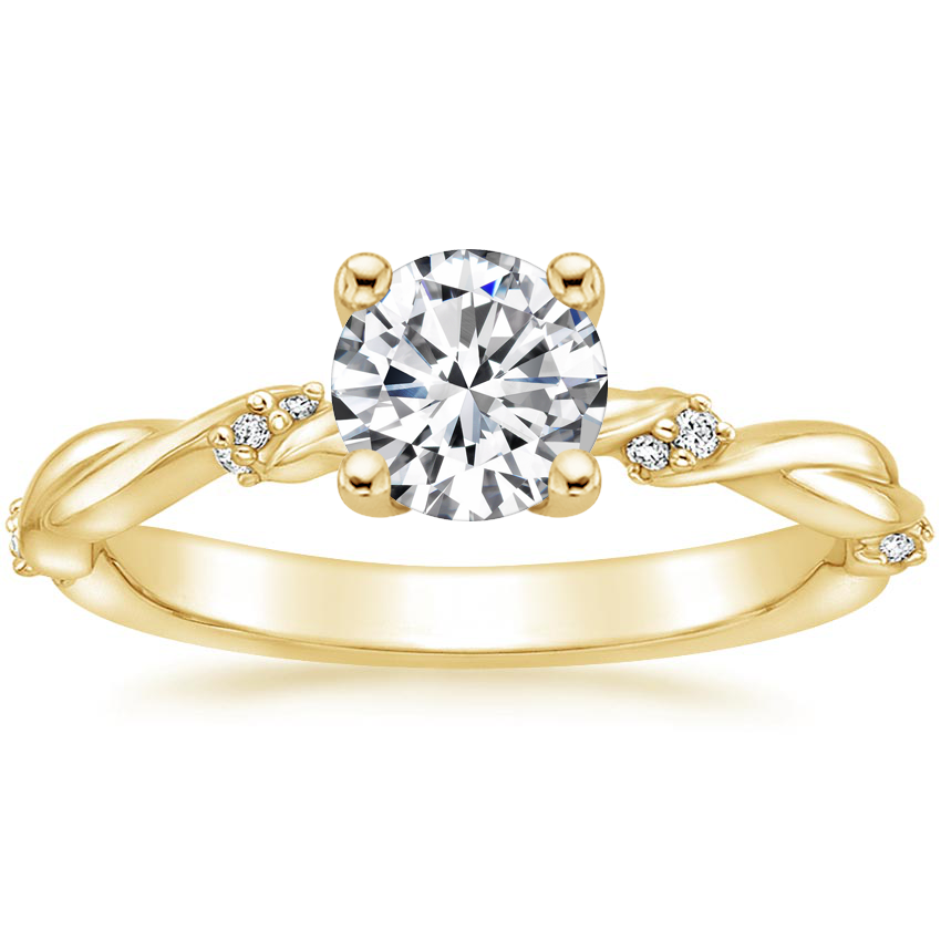 Round 18K Yellow Gold Cleo Diamond Ring