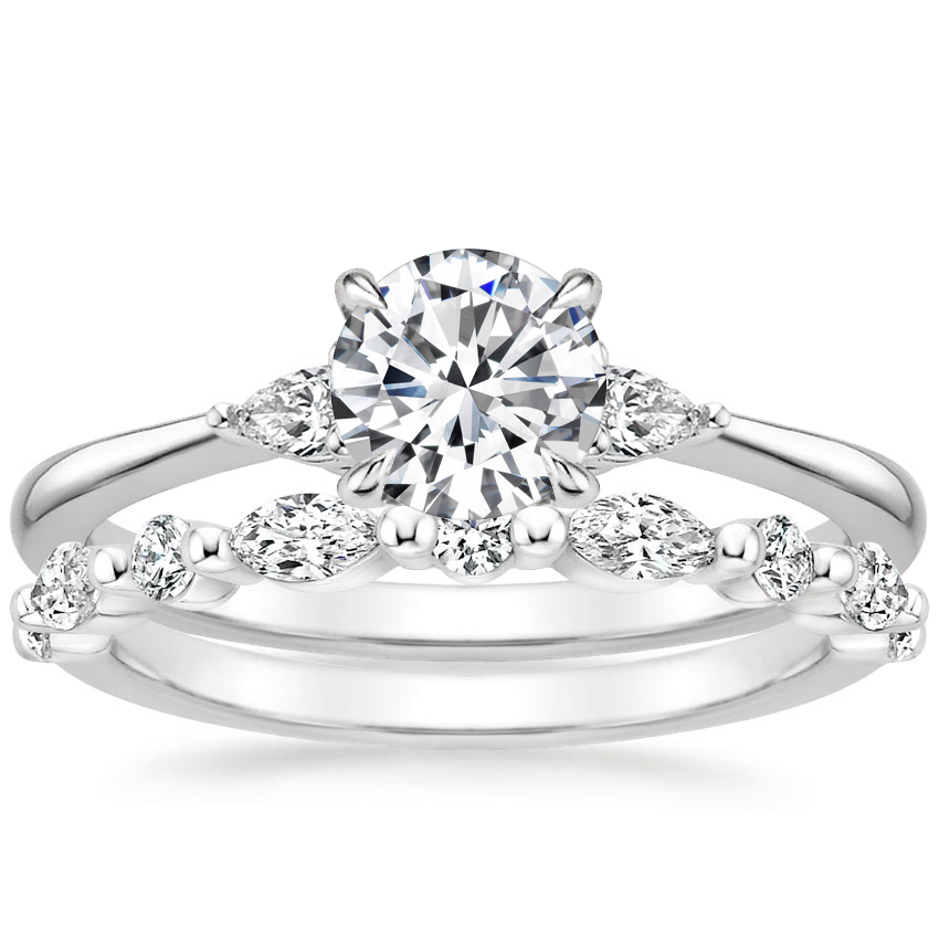 Platinum Aria Diamond Ring (1/10 ct. tw.) with Versailles Diamond Ring (3/8 ct. tw.)