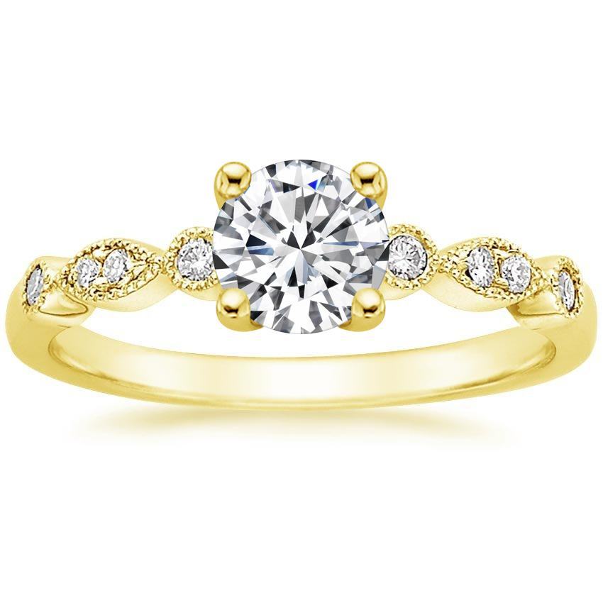 Round 18K Yellow Gold Tiara Diamond Ring
