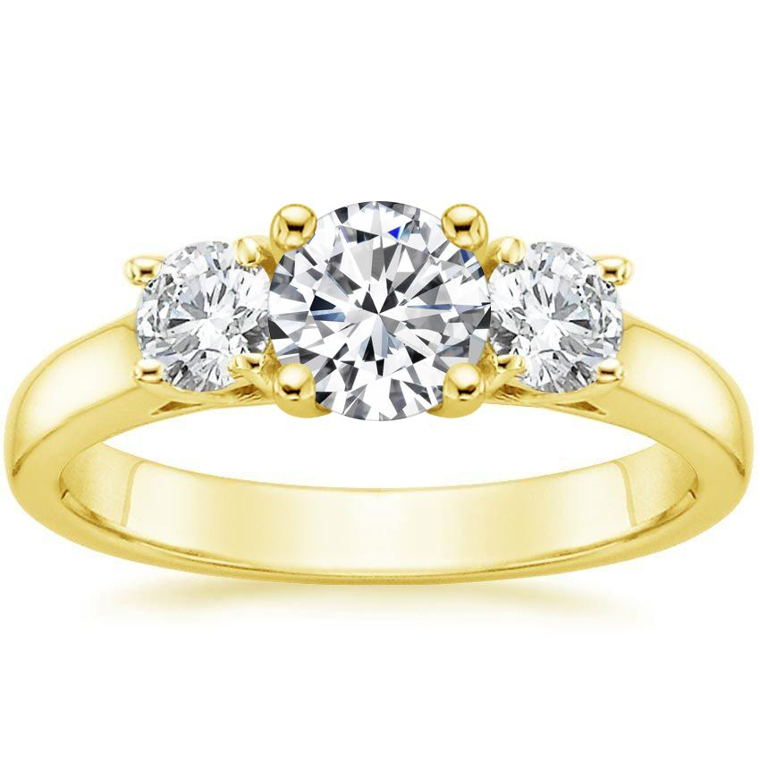 18K Yellow Gold Three Stone Trellis Diamond Ring, top view