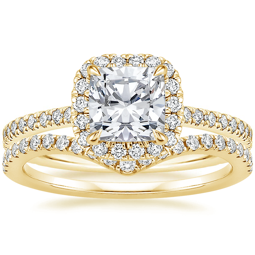 18K Yellow Gold Luxe Ballad Halo Diamond Ring (1/3 ct. tw.) with Flair Diamond Ring (1/6 ct. tw.)