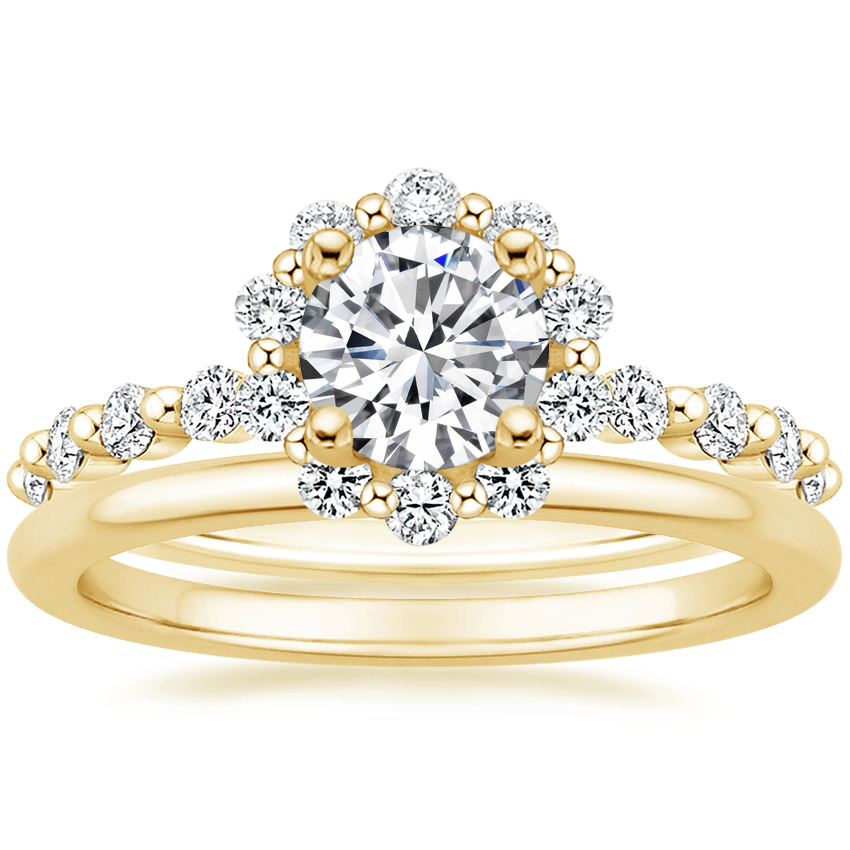 18K Yellow Gold Marseille Halo Diamond Ring (1/2 ct. tw.) with Petite Comfort Fit Wedding Ring