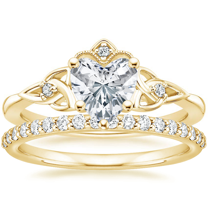 18K Yellow Gold Celtic Crown Diamond Ring with Petite Shared Prong Diamond Ring (1/4 ct. tw.)