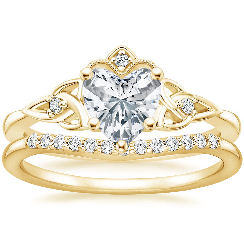 18K Yellow Gold Celtic Crown Diamond Ring with Petite Curved Diamond Ring (1/10 ct. tw.)