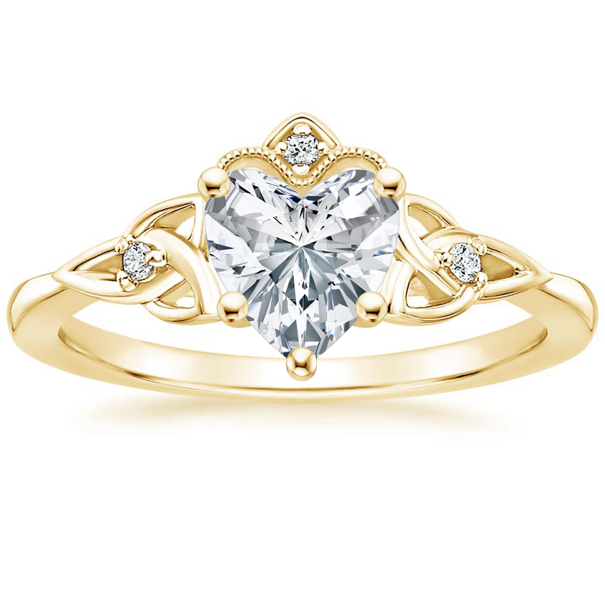 Heart 18K Yellow Gold Celtic Crown Diamond Ring