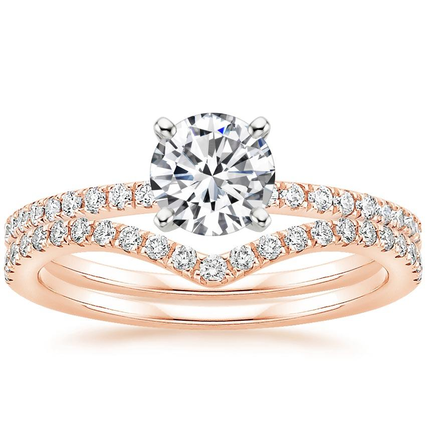 14K Rose Gold Ballad Diamond Ring (1/8 ct. tw.) with Flair Diamond Ring (1/6 ct. tw.)