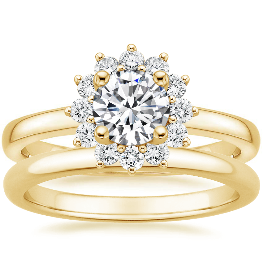 18K Yellow Gold Sunburst Diamond Ring (1/3 ct. tw.) with 2mm Comfort Fit Wedding Ring