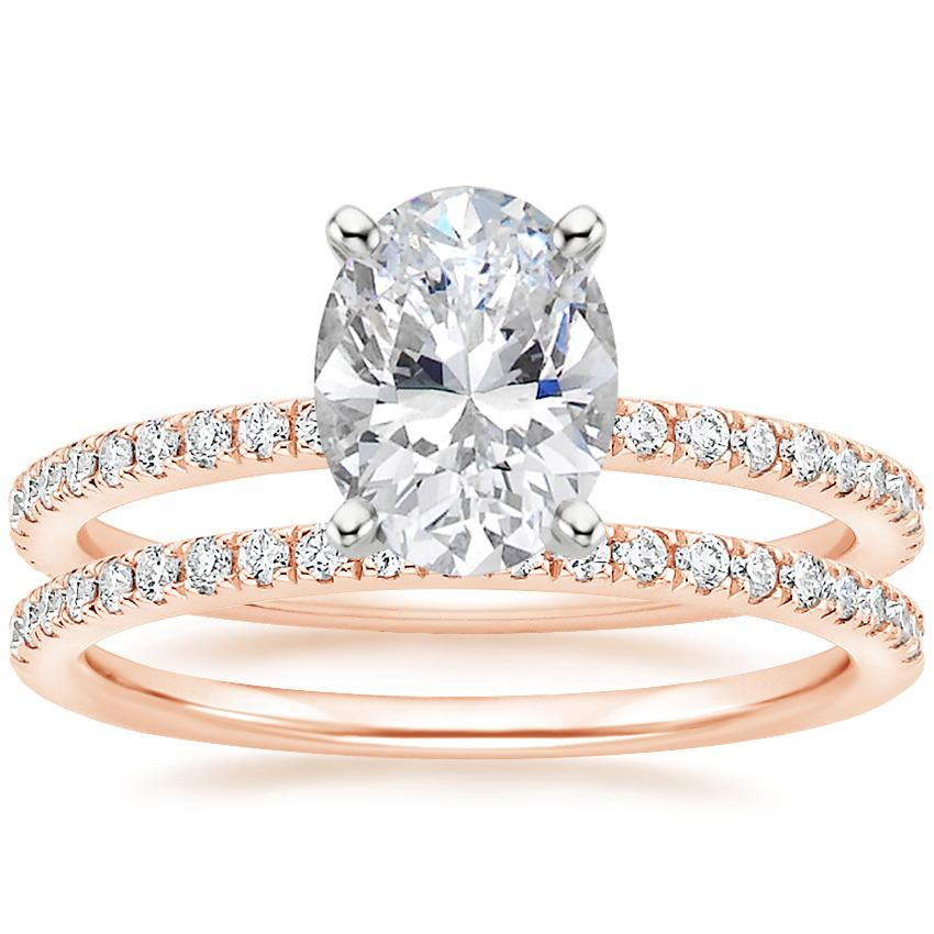 14K Rose Gold Luxe Ballad Diamond Ring (1/4 ct. tw.) with Ballad Diamond Ring (1/6 ct. tw.)