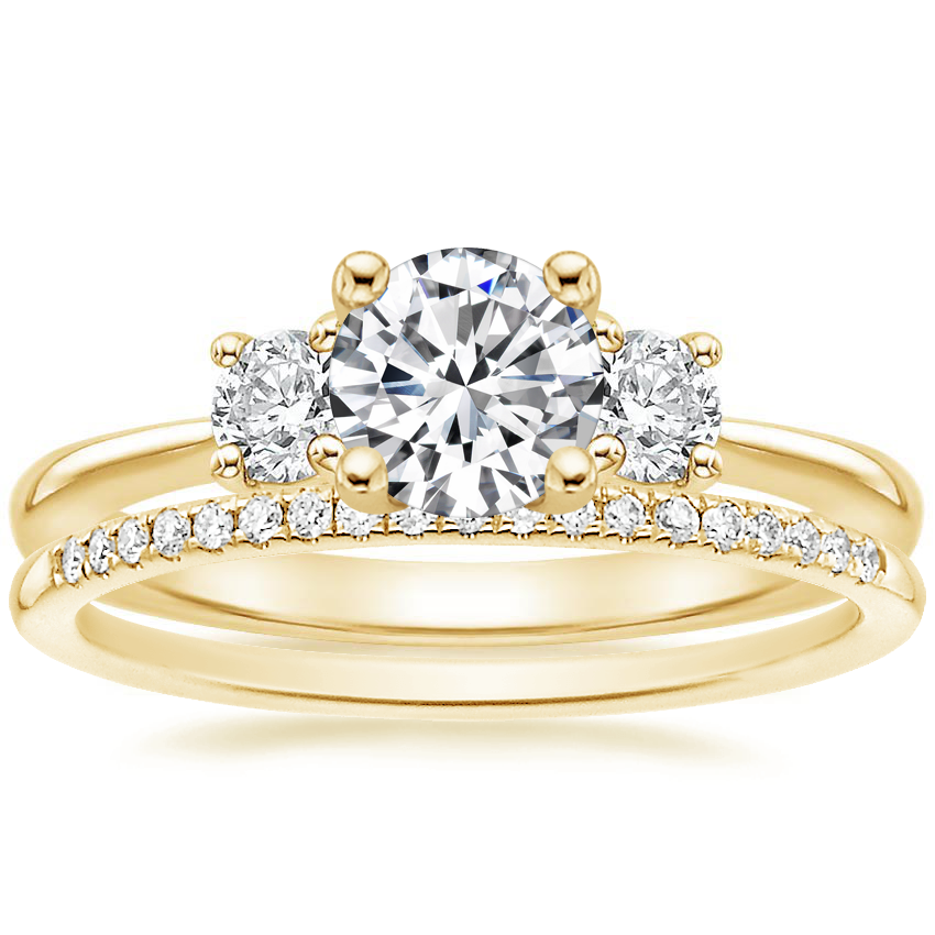 18K Yellow Gold Serena Diamond Ring with Whisper Diamond Ring (1/10 ct. tw.)