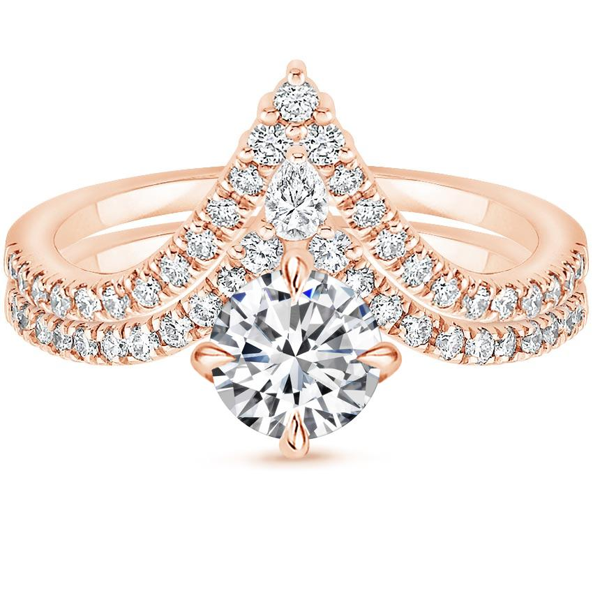 14K Rose Gold Nouveau Diamond Bridal Set