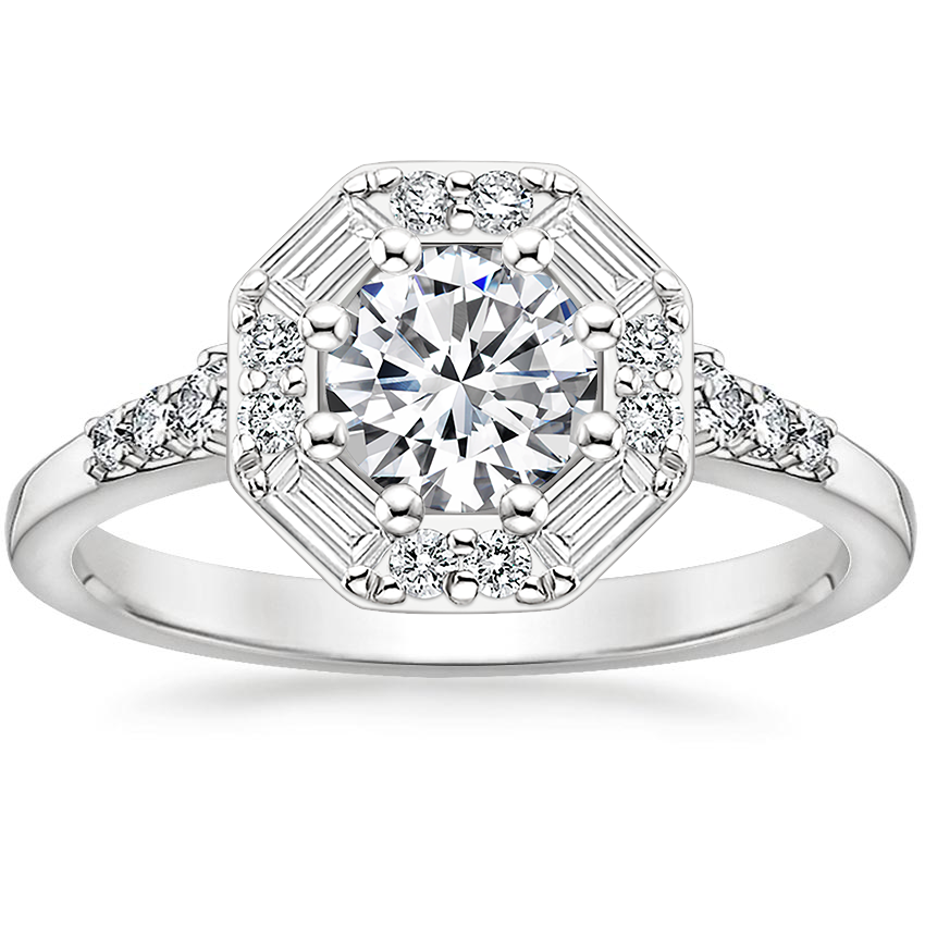 Round Baguette Halo Engagement Ring