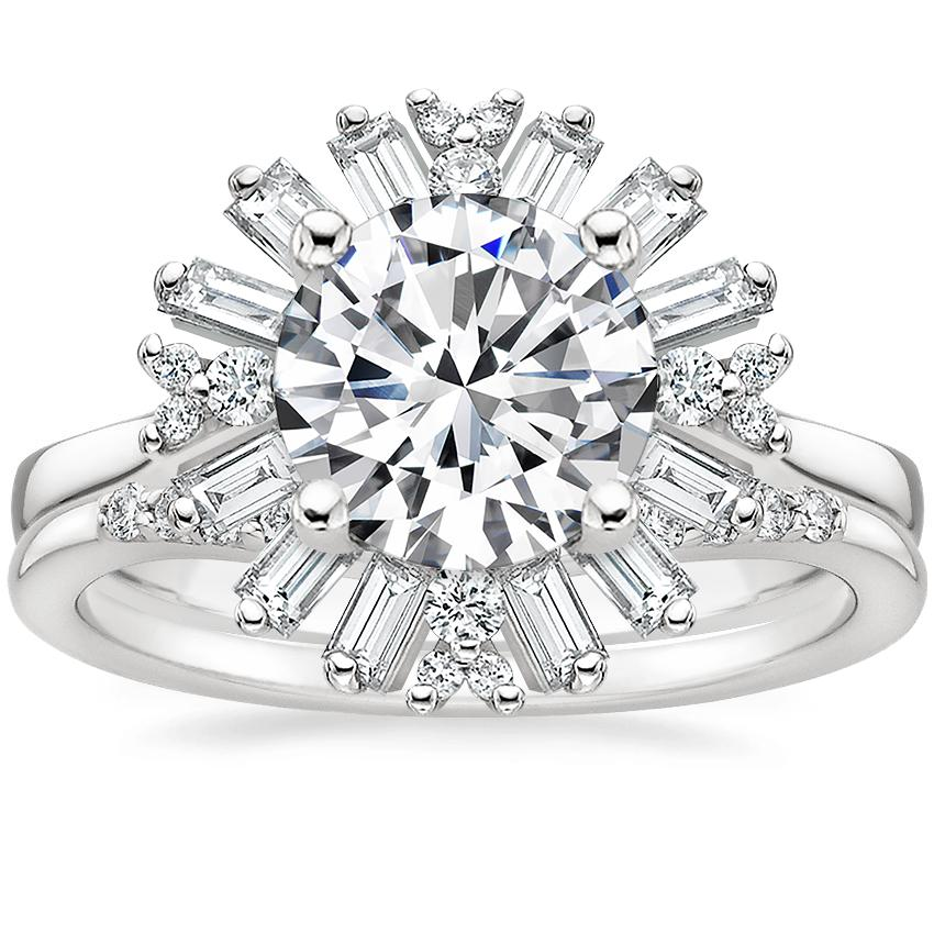18K White Gold Ballerina Diamond Ring with Petite Curved Diamond Ring (1/10 ct. tw.)