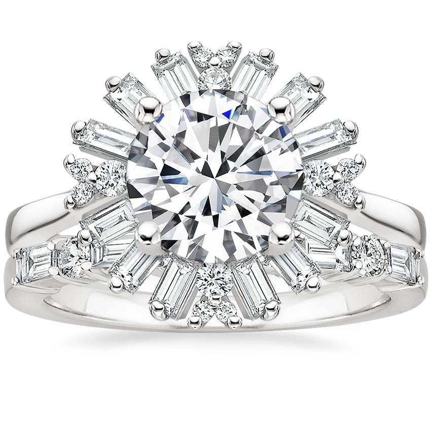 Platinum Ballerina Diamond Ring with Leona Diamond Ring (1/3 ct. tw.)
