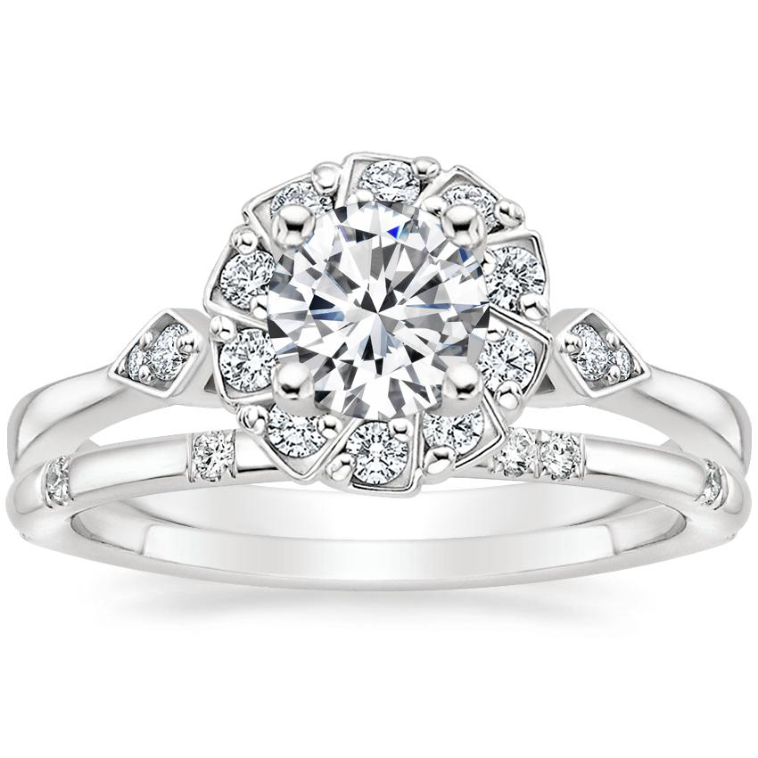 18K White Gold Geo Halo Diamond Ring with Astra Diamond Ring