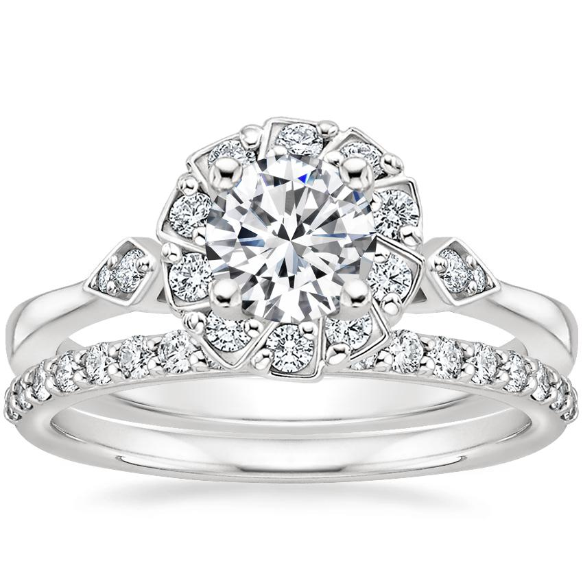 18K White Gold Geo Halo Diamond Ring with Petite Shared Prong Diamond Ring (1/4 ct. tw.)
