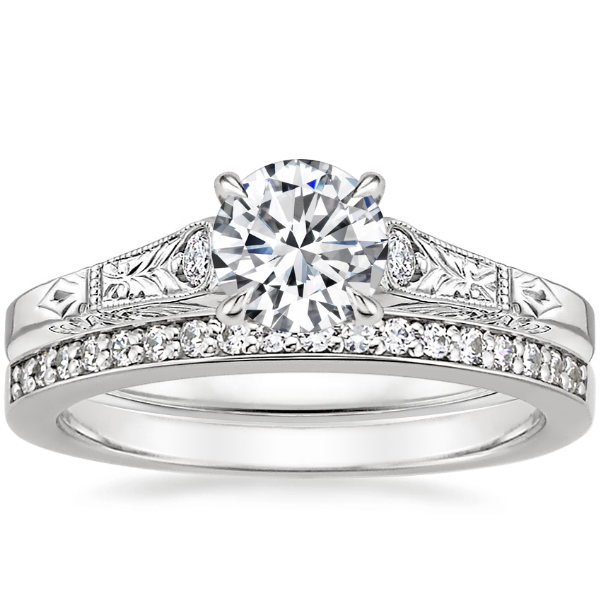 18K White Gold Valentina Diamond Ring with Starlight Diamond Ring (1/8 ct. tw.)