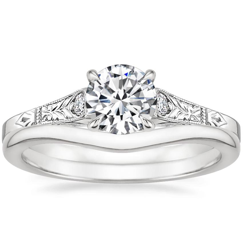18K White Gold Valentina Diamond Ring with Petite Curved Wedding Ring