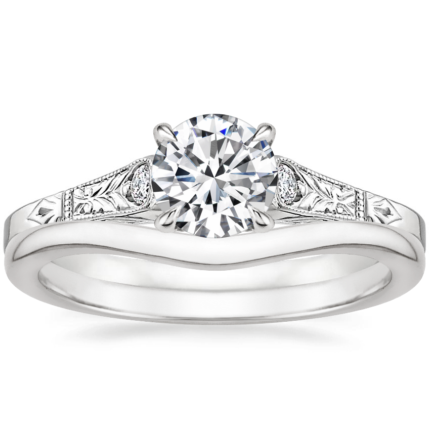 Platinum Valentina Diamond Ring with Petite Curved Wedding Ring