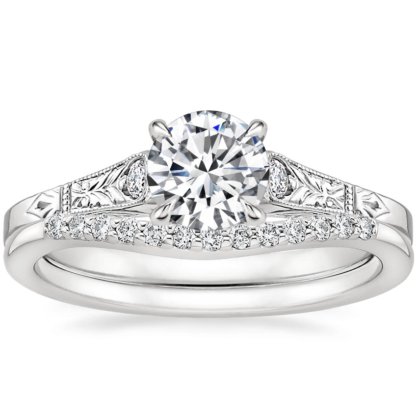 18K White Gold Valentina Diamond Ring with Petite Curved Diamond Ring (1/10 ct. tw.)