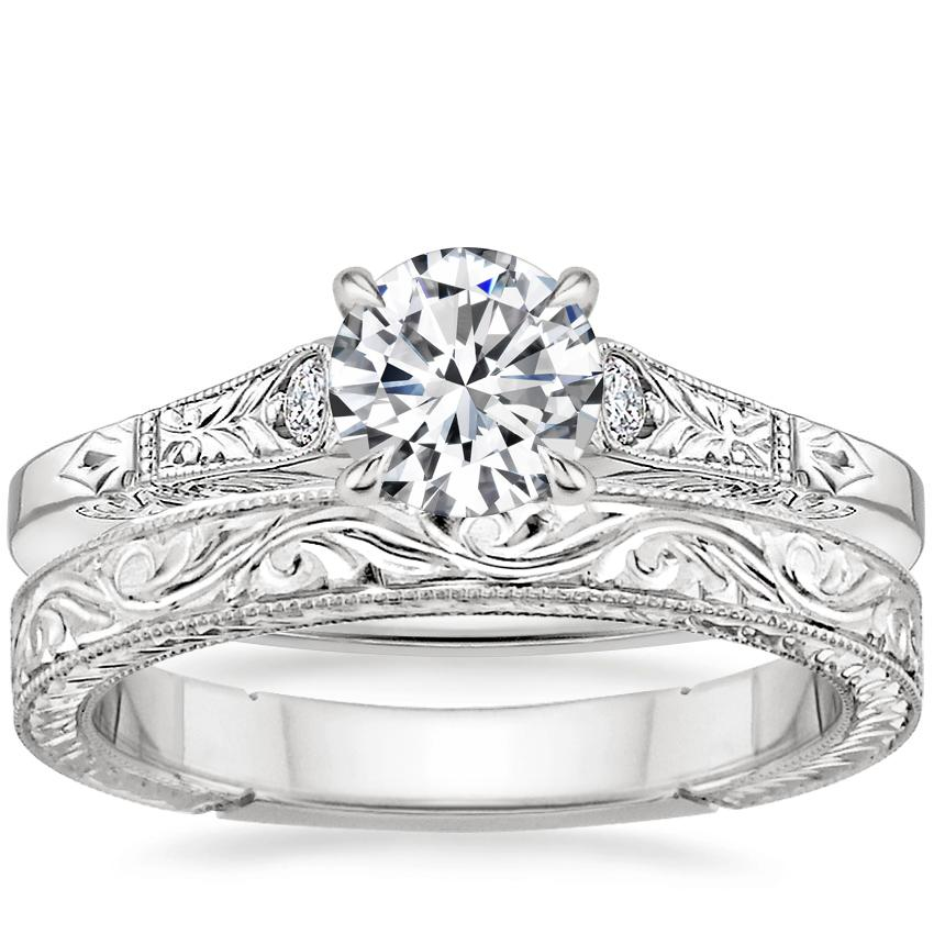 Platinum Valentina Diamond Ring with Hand-Engraved Laurel Ring