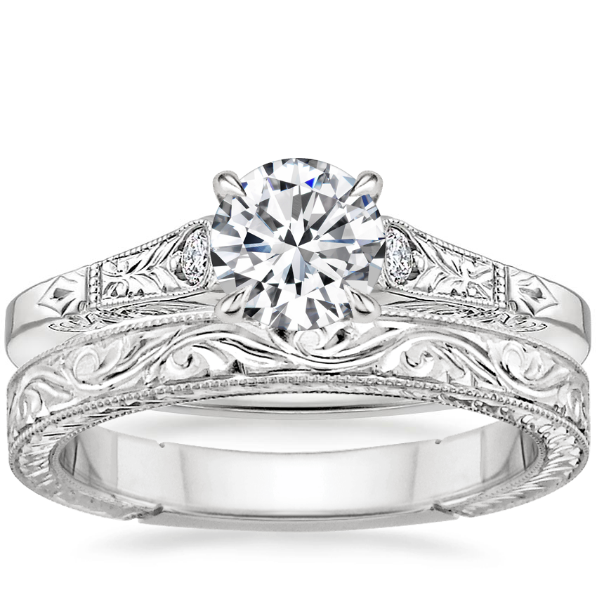 18K White Gold Valentina Diamond Ring with Hand-Engraved Laurel Ring