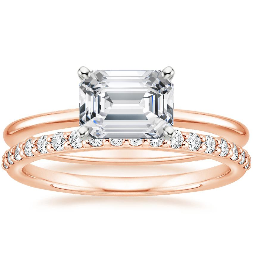 14K Rose Gold Horizontal Petite Comfort Fit Ring with Petite Shared Prong Diamond Ring (1/4 ct. tw.)