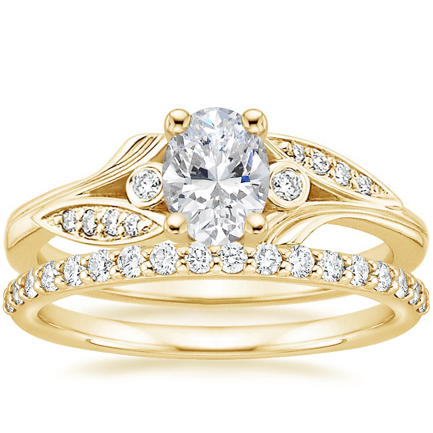 18K Yellow Gold Jasmine Diamond Ring with Petite Shared Prong Diamond Ring (1/4 ct. tw.)
