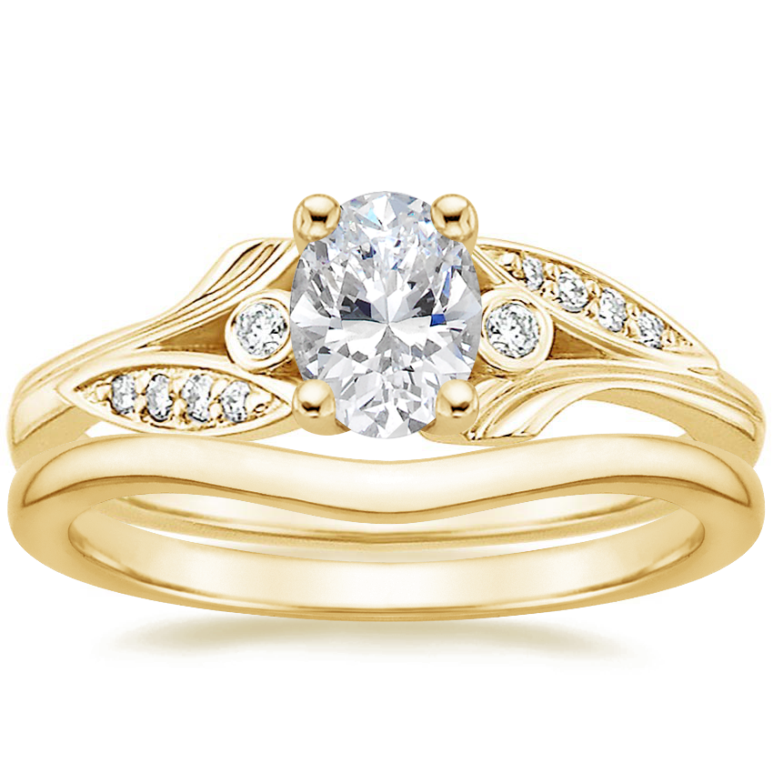 18K Yellow Gold Jasmine Diamond Ring with Petite Curved Wedding Ring