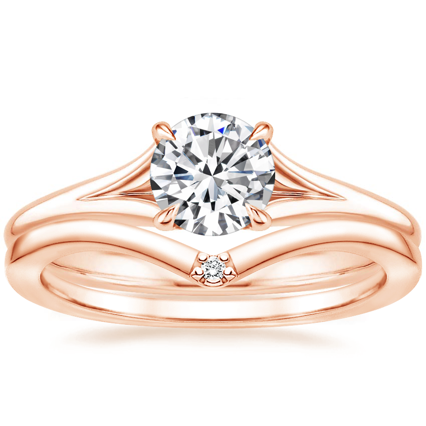 14K Rose Gold Reverie Ring with Arc Diamond Ring
