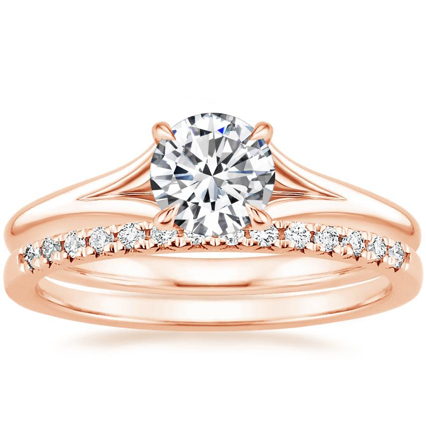 14K Rose Gold Reverie Ring with Sonora Diamond Ring (1/8 ct. tw.)