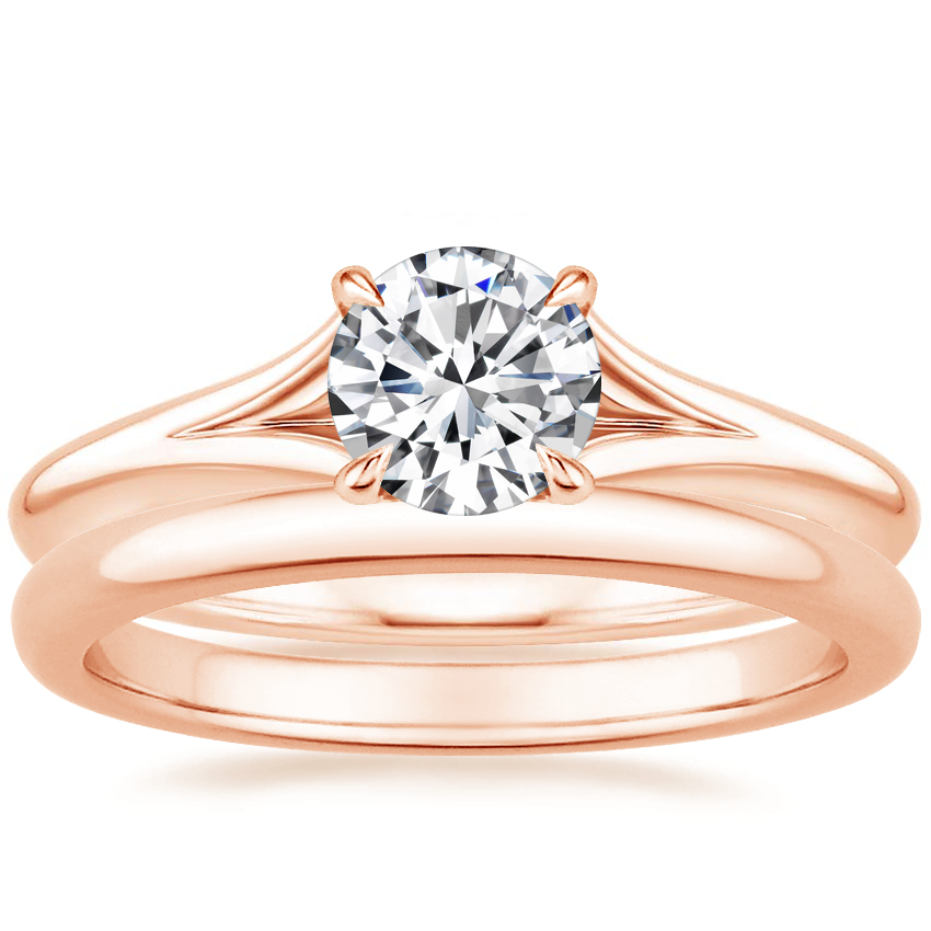 14K Rose Gold Reverie Ring with 2mm Comfort Fit Wedding Ring