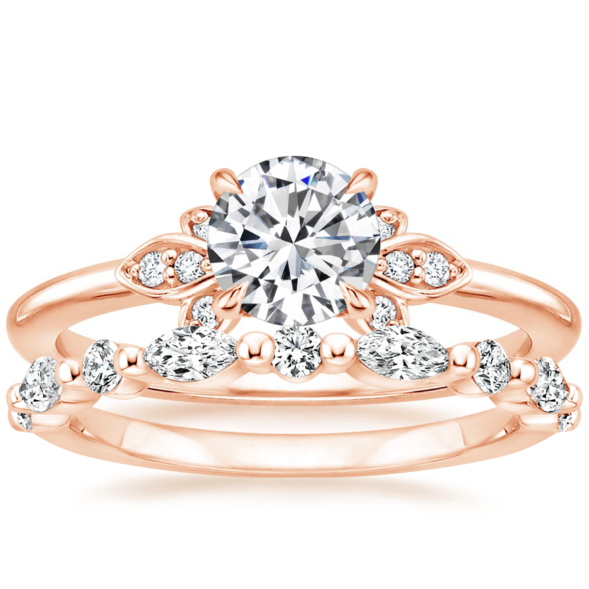 14K Rose Gold Fiorella Diamond Ring with Versailles Diamond Ring (2/5 ct. tw.)