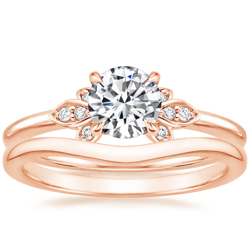 14K Rose Gold Fiorella Diamond Ring with Petite Curved Wedding Ring