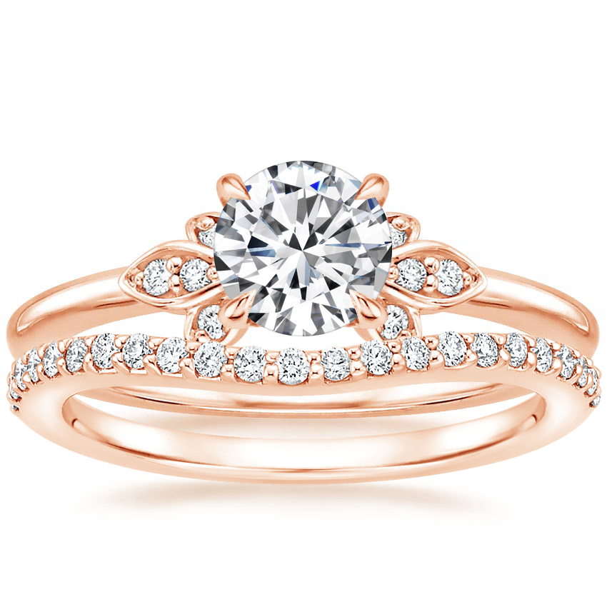 14K Rose Gold Fiorella Diamond Ring with Curved Diamond Ring (1/6 ct. tw.)